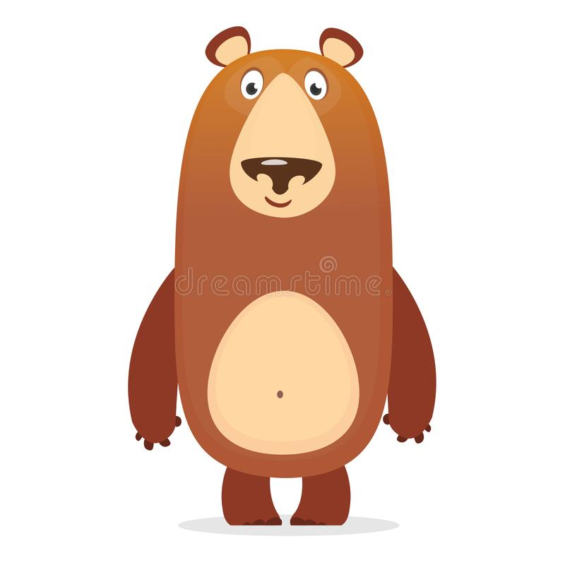 Vector illustration, a large wild cartoon bear is smiling. stock illustration
