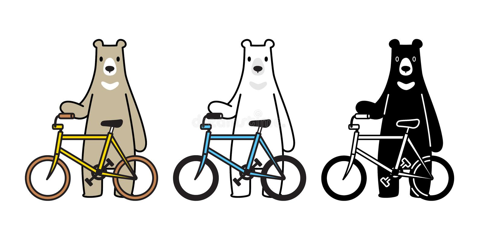 Bear vector polar bear bicycle riding cycling cartoon character icon logo isolated illustration royalty free illustration