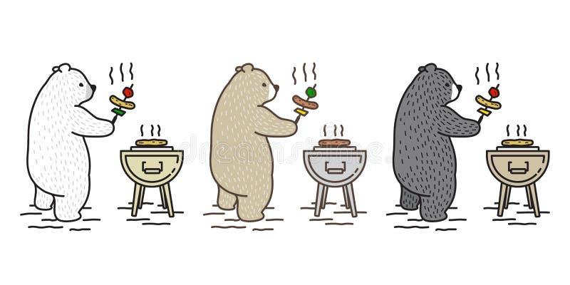 Bear vector Polar Bear icon cartoon character picnic camping barbecue grill travel doodle illustration. Bear vector Polar Bear icon cartoon character picnic stock illustration