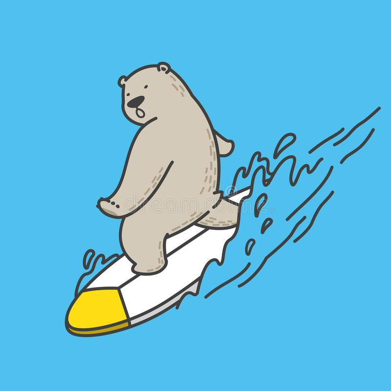 Bear vector polar bear surf ocean sea logo illustration character cartoon doodle icon stock illustration