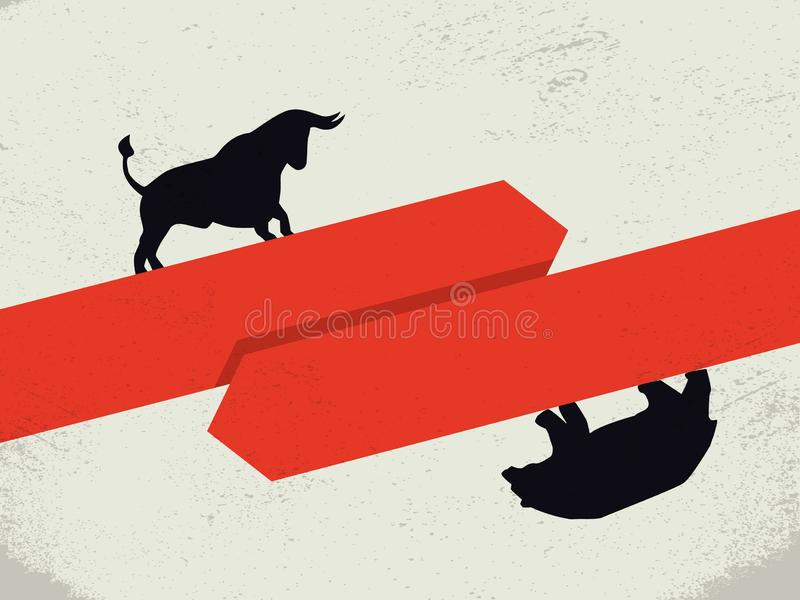 Bear vs bull market vector concept. Symbol of financial markets, stock exchange strategy, buying, selling stock and. Trends. Eps10 illustration royalty free illustration