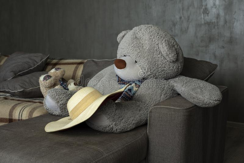 The bear was thrown by the hostess, the bear became sad stock photo