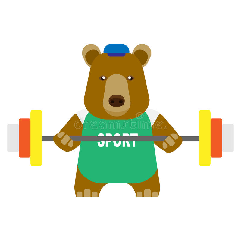 Download Bear weightlifter stock vector. Image of isolated, design - 35388627