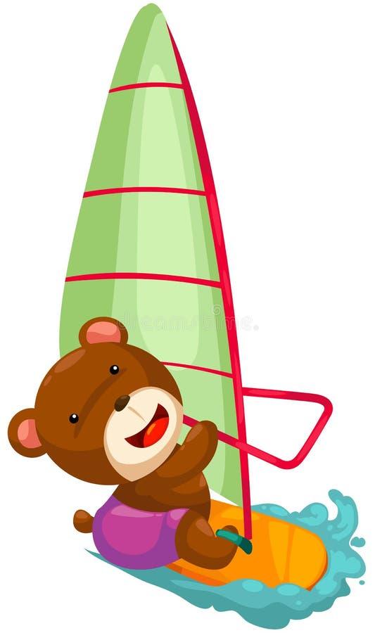Bear wind surfing stock illustration