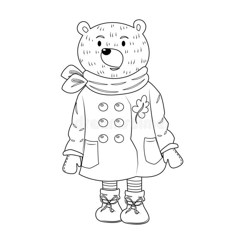 A Bear in Winter Suit Colorless vector illustration