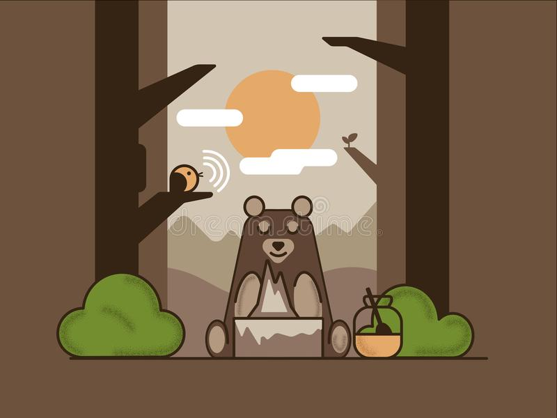 Bear in the woods sitting makes a hill next to a jar of honey and a singing bird on a tree branch. stock illustration