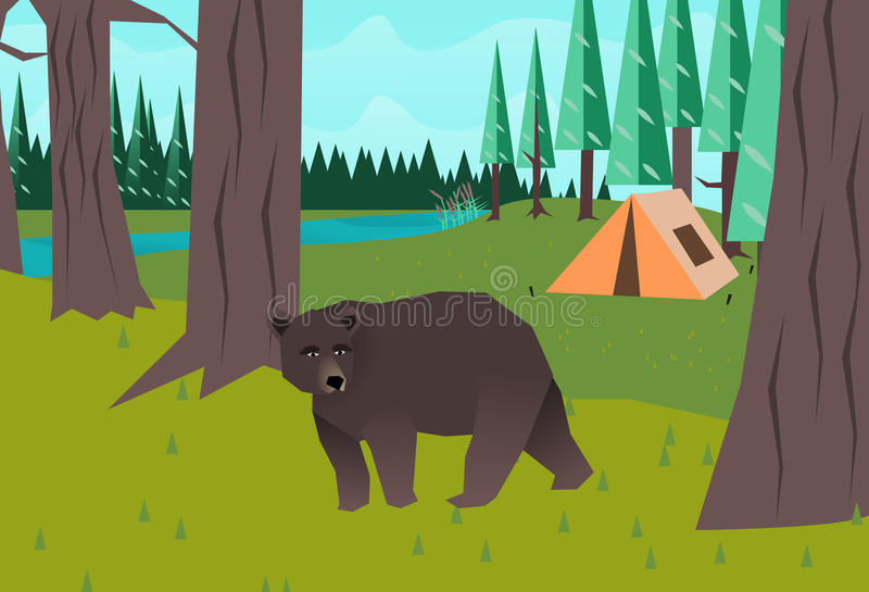 Download Bear in the woods vector stock vector. Illustration of drawing - 33863388