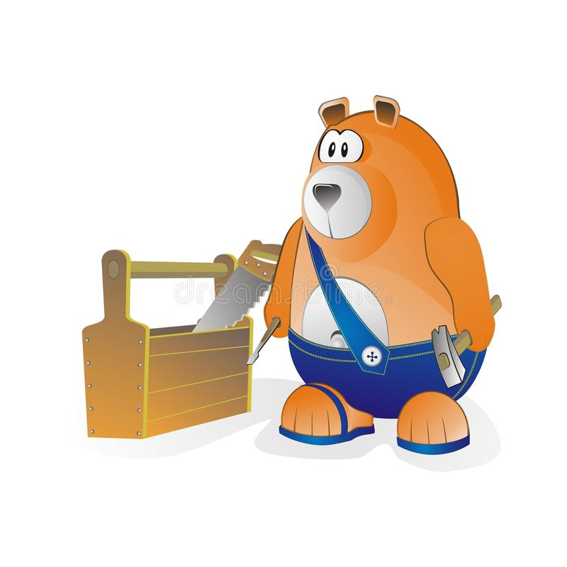 Download Bear worker with equipment stock illustration. Illustration of hacksaw - 14291338