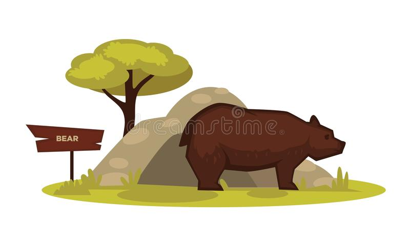 Bear zoo animal and wooden signboard vector cartoon icon for zoological park. Bear zoo animal and wooden signboard vector cartoon icon. Isolated wild grizzly royalty free illustration