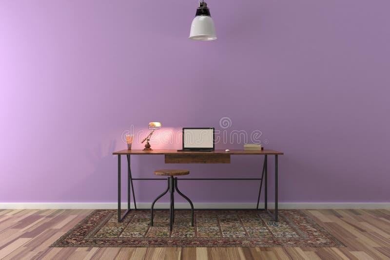 Bearbeiten Sie Schreibtisch im leeren Raum mit großer Wand im Hintergrund stock abbildung