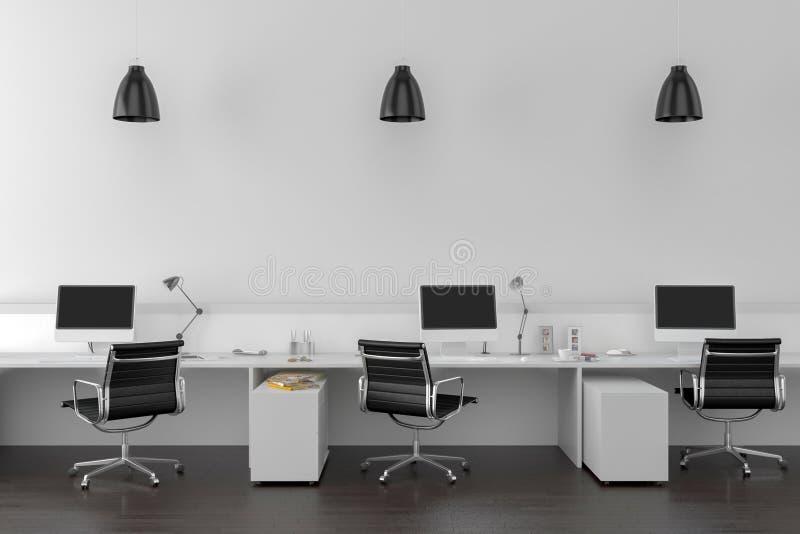 Bearbeiten Sie Schreibtische im leeren Raum mit großer Wand im Hintergrund lizenzfreie abbildung
