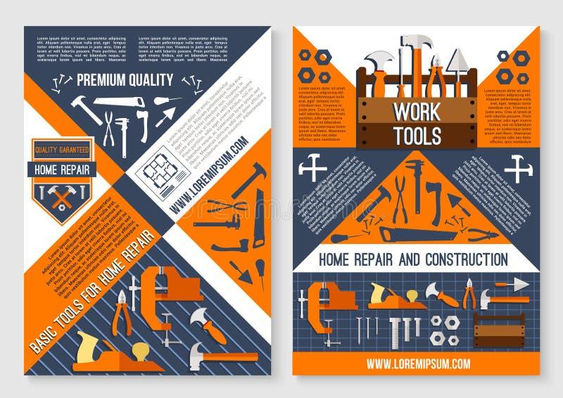 Bearbeiten Sie Werkzeug für Hauptreparatur- und Bauplakat lizenzfreie abbildung