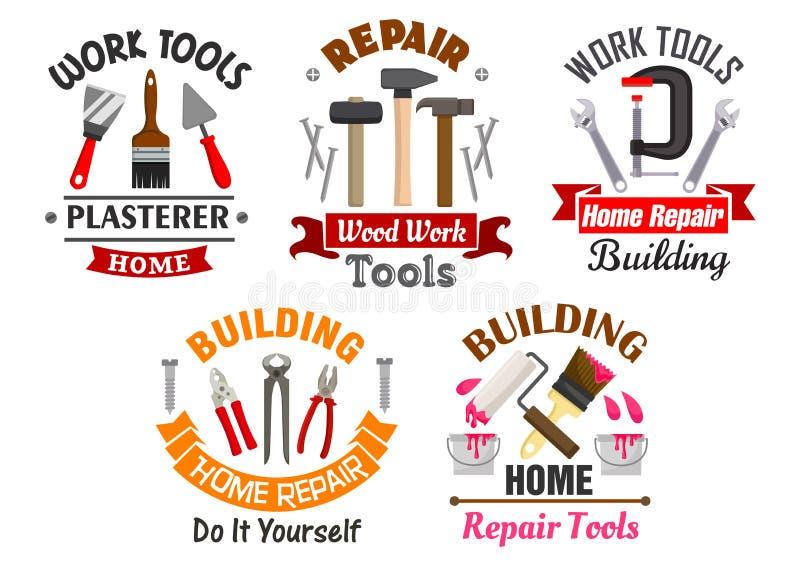 Bearbeiten Sie Werkzeuge für die eingestellten Reparatur- und Gebäudeausweise lizenzfreie abbildung