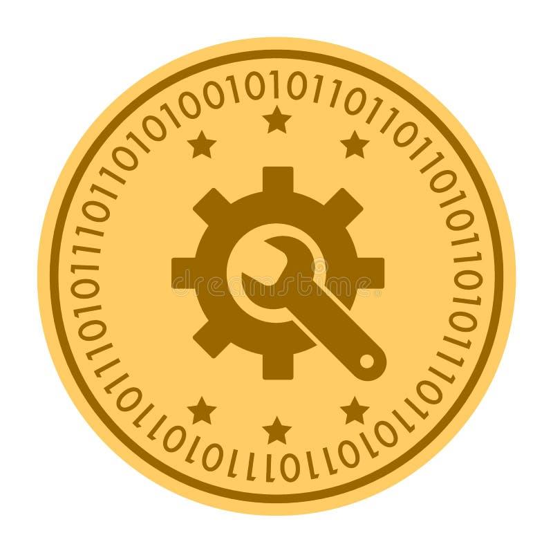 Bearbeitet goldene digitale Münzenvektorikone Goldgelbe Münze mit Schlüssel- und Gangsymbol cryptocurrency Ikone an lokalisiert vektor abbildung