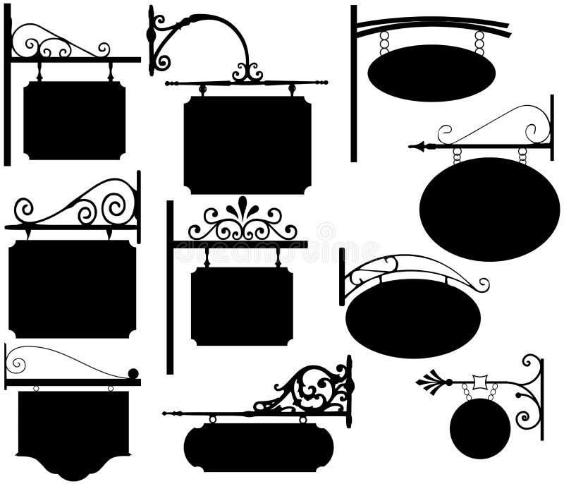 Bearbeitetes Eisen kennzeichnet Weinlese vektor abbildung