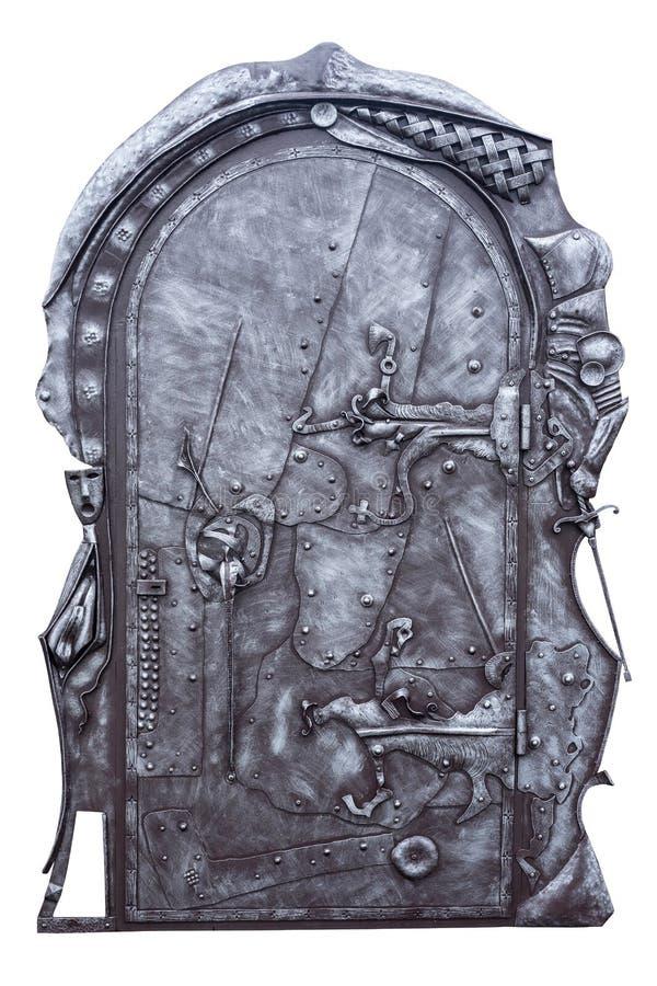 Bearbeitetes Eisen-Tür lizenzfreie stockbilder