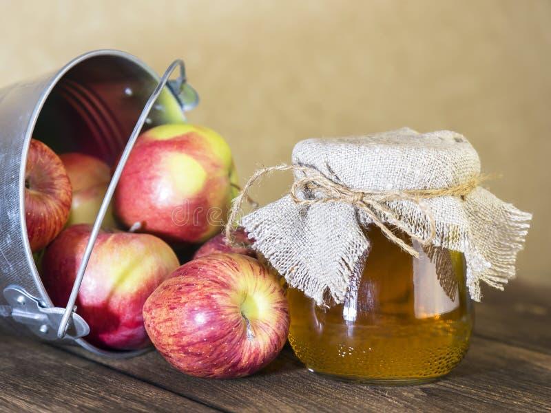 Bearbeta av en jordbruks- skörd av röda och gröna äpplen Hem- på burk som är sund bantar vegetarisk mat Äppelcidervinäger, frukts royaltyfri foto