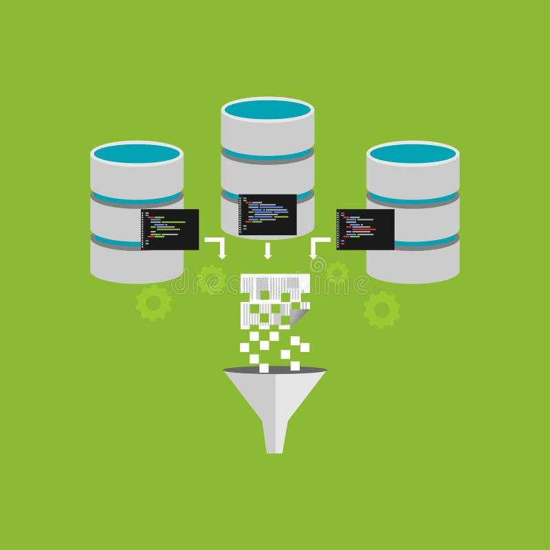 Bearbeta för extraktion för Digital information Filtrera för information Data som bryter, eller intelligent begreppsillustration  vektor illustrationer