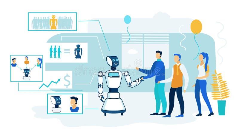 Bearbeta för konstgjord intelligens för robot möte royaltyfri illustrationer