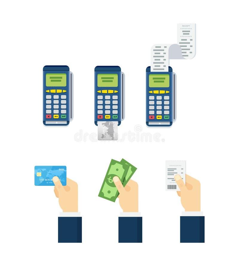 Bearbeta för kreditkort, kreditkort för handinnehavdebitering, kassa och kvitto Uppsättning av betalningalternativbeståndsdelar i royaltyfri illustrationer