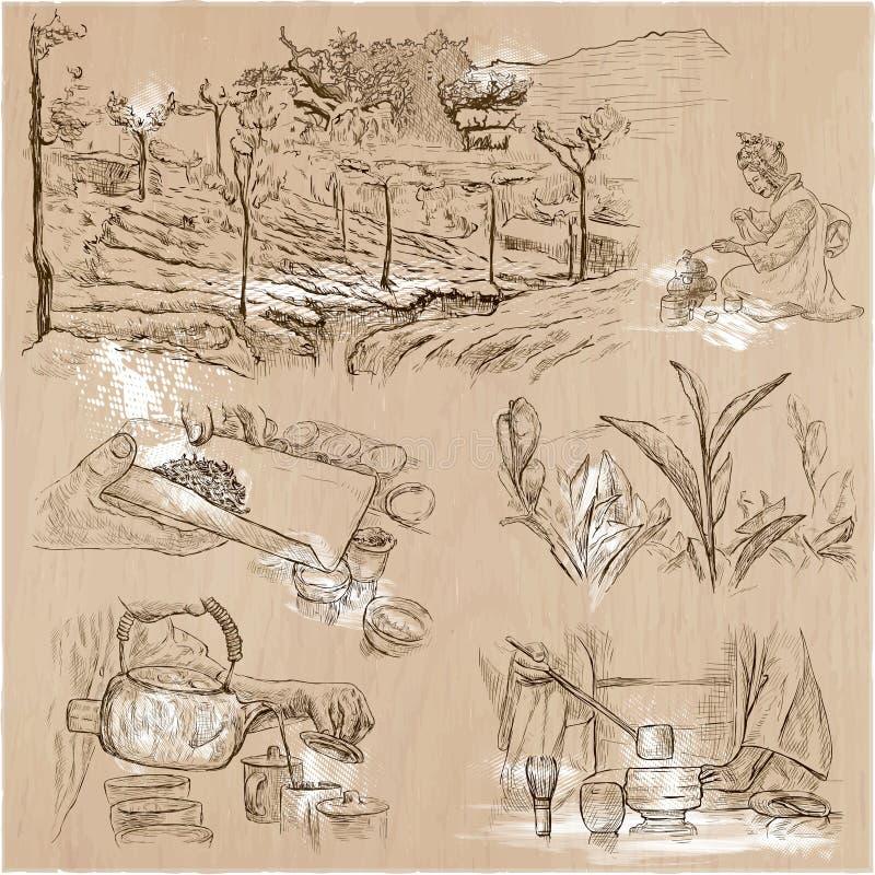 Bearbeta för te Jordbruk En hand dragen vektorillustration royaltyfri illustrationer
