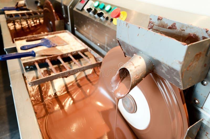 Bearbeta med maskin danandechoklad arkivbild