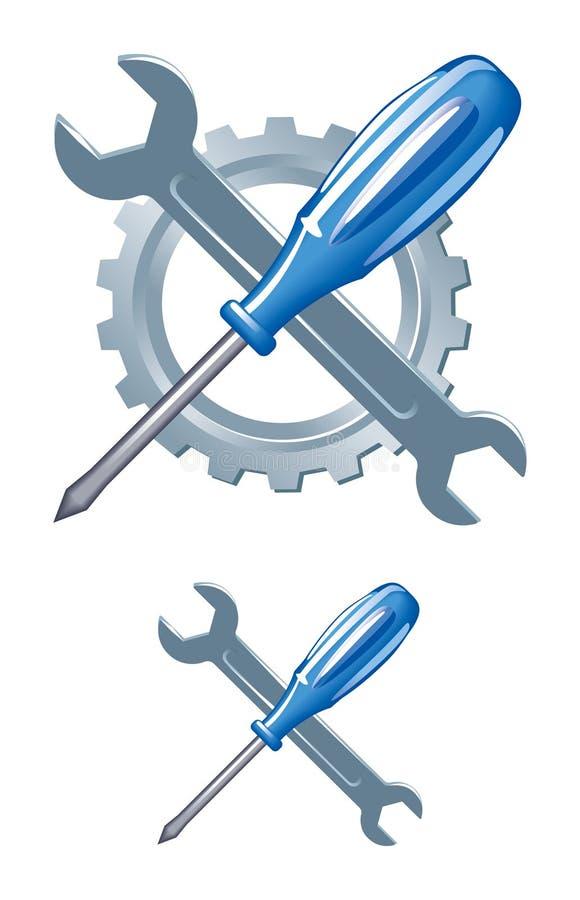 Bearbetar emblemet stock illustrationer
