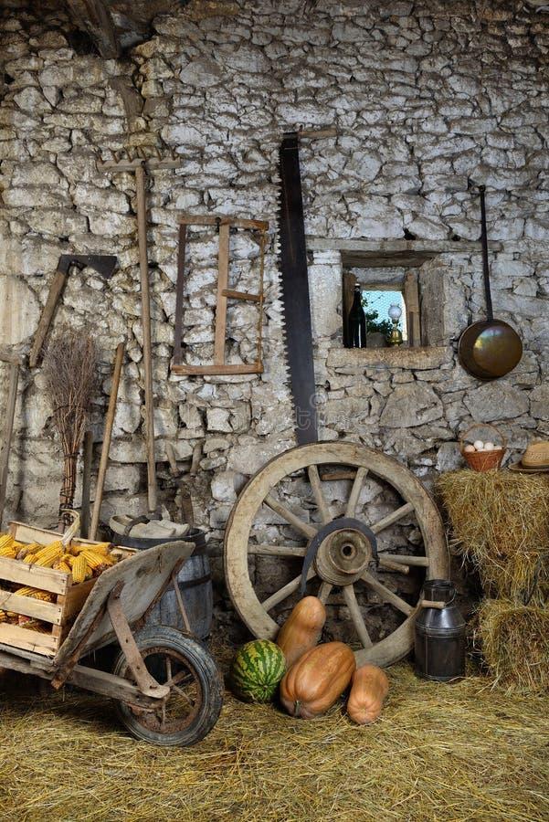 Bearbetar ladugård två fotografering för bildbyråer