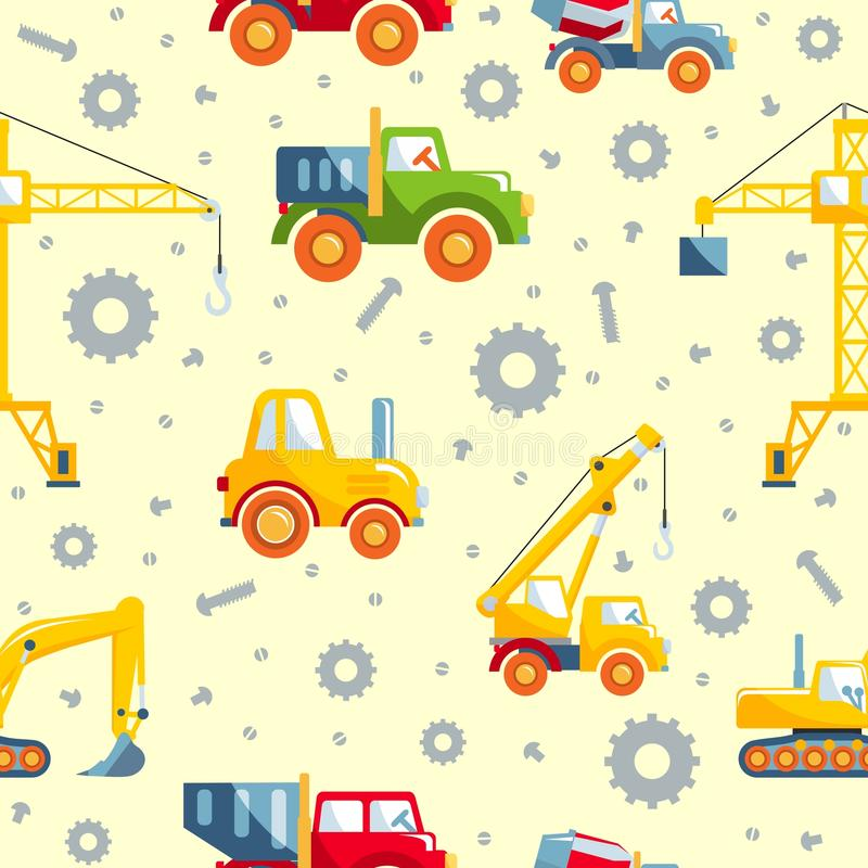 Bearbetar med maskin tung konstruktion för leksaker den sömlösa modellen stock illustrationer