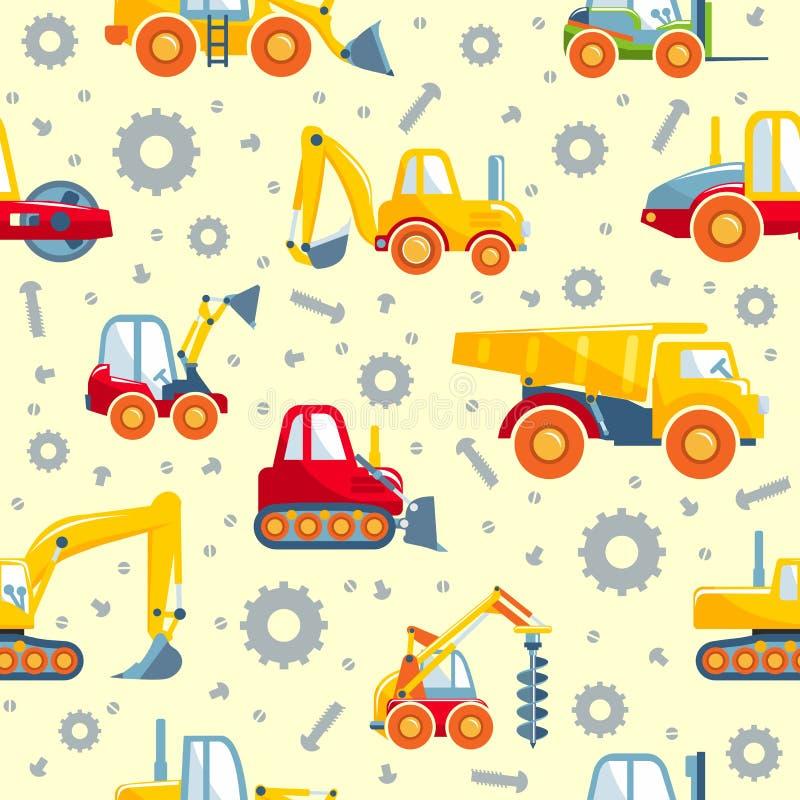 Bearbetar med maskin tung konstruktion för leksaker den sömlösa modellen vektor illustrationer