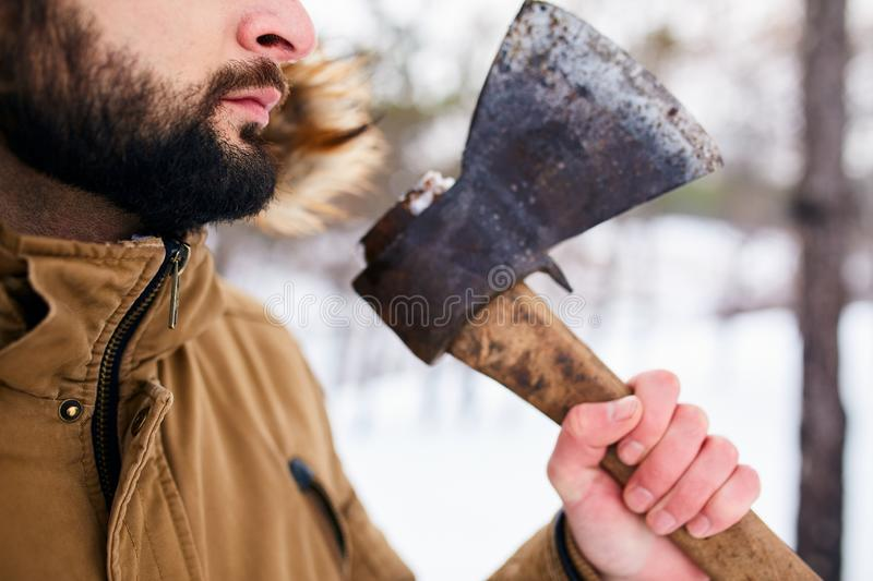 Beard and axe. Lumberjack standing with weathered rusty axe in his hand. Close view, unrecognizable man in forest royalty free stock photos
