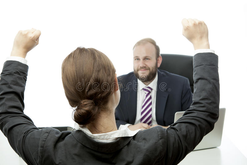 Beard Business Man Brunette Woman At Desk Happy Stock Photos