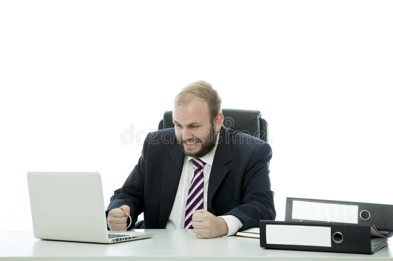 Download Beard Business Man Is Frustrated At Desk Stock Photo - Image: 26197528