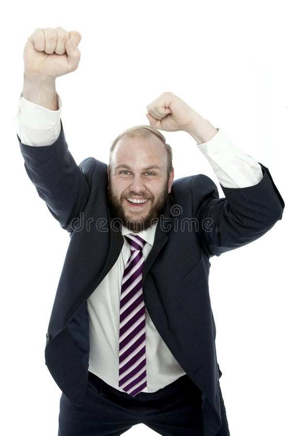 Download Beard Business Man Wins With Arms In The Air Stock Photo - Image: 26148666
