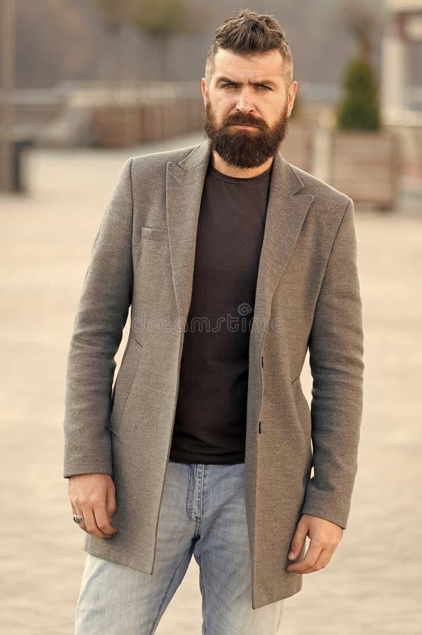 Beard fashion and barber concept. Man bearded hipster stylish fashionable coat. Bearded and cool. Barber tips maintain. Beard. Hipster appearance. Stylish beard stock photo
