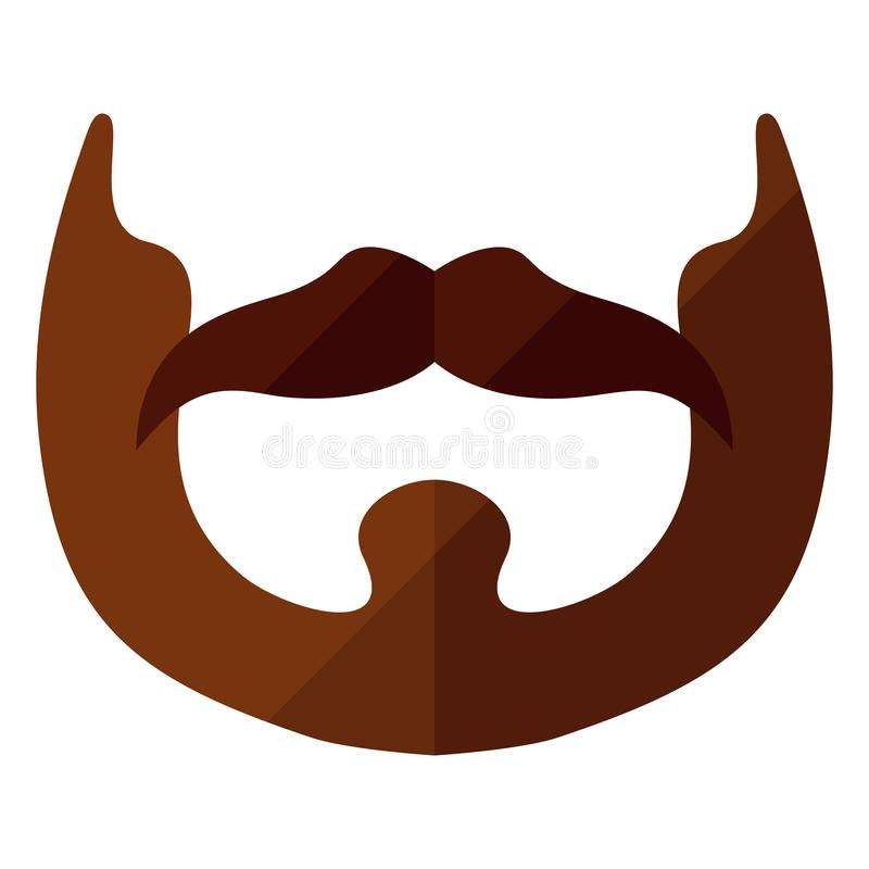 Beard flat icon with hipster mustache royalty free illustration