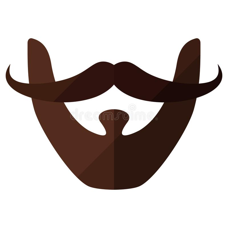 Beard flat icon with hipster mustache stock illustration