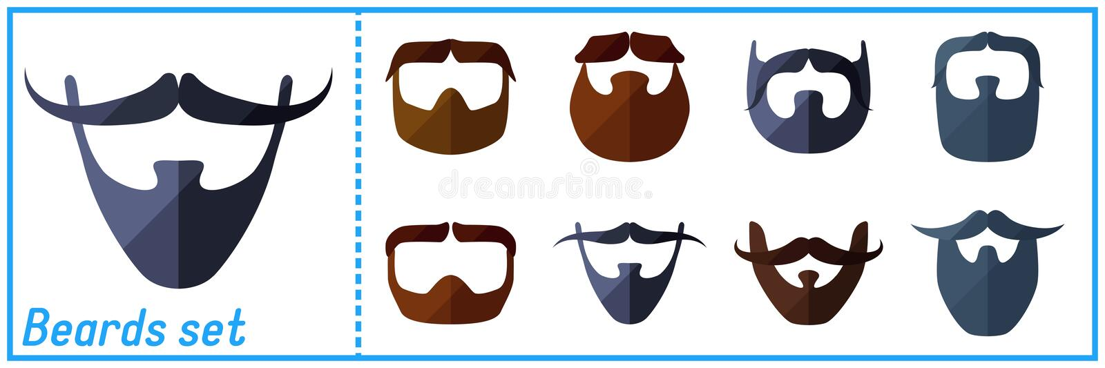 Beard flat icons set with hipster mustache vector illustration