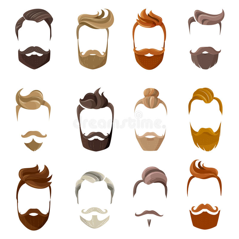 Beard And Hairstyles Face Set. Colorful male silhouette faces with hispter beard and hair styles isolated on white background flat vector illustration stock illustration