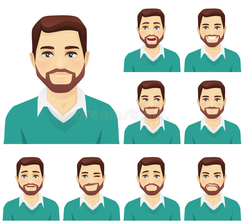 Beard man expression set. Attractive beard man with different facial expressions set
