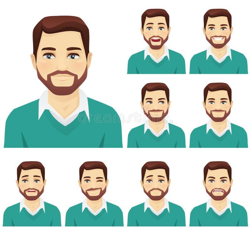 Beard man expression set vector illustration