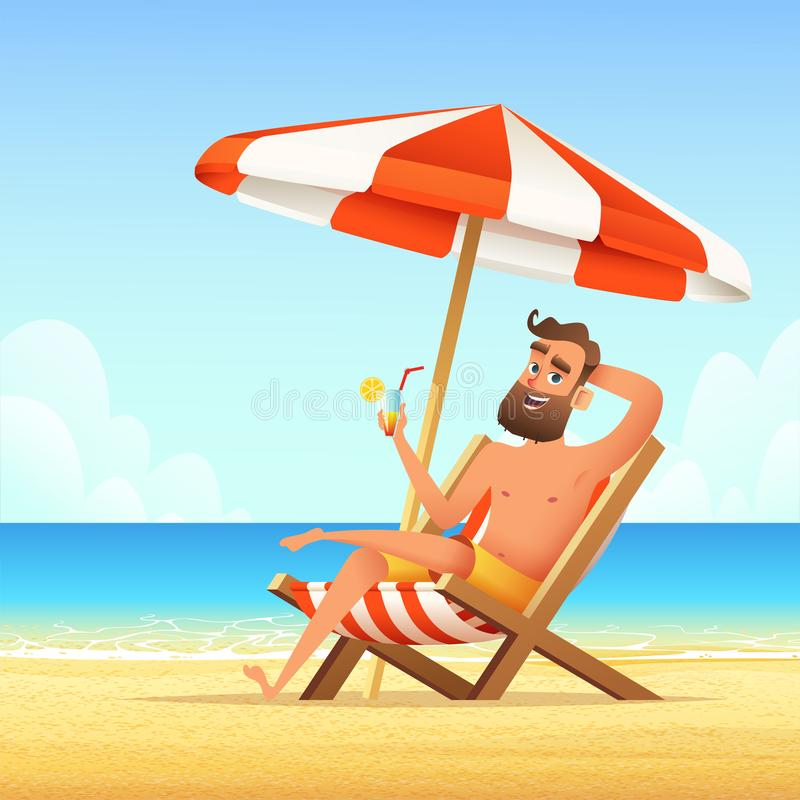 Beard man sitting on a sunbed on the beach. Happy smiling male relaxing on a chaise-longue and drink cocktail. Vector cartoon illu. Stration stock illustration