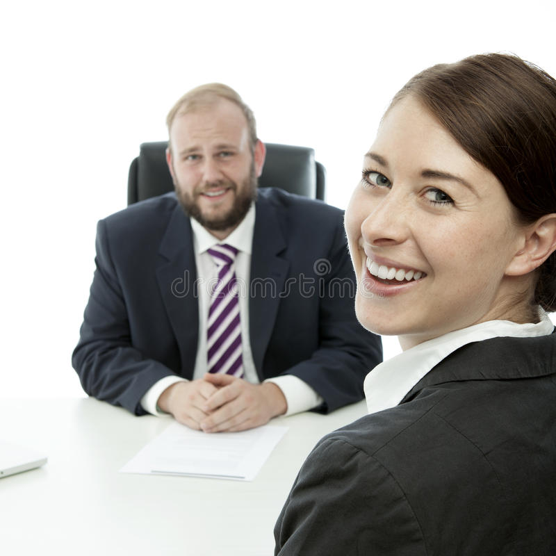 Beard man and woman smile stock images