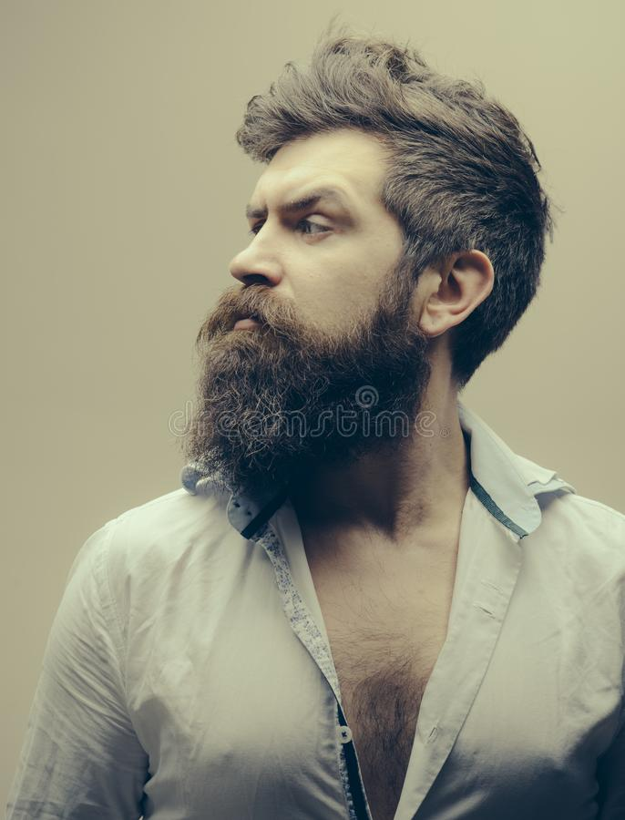 Beard and mustache care product. Man brutal bearded hipster strict face close up. Growing epic beard also means growing stock photos