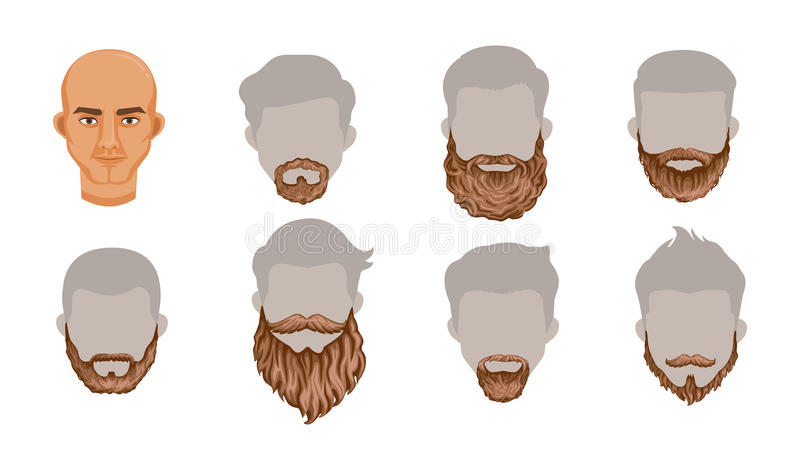 Beard. Set of stylish beard and brown mustache collection.Variety and Creatively. Simple to apply to your work.Vector illustration, Body parts or Puppet head royalty free illustration