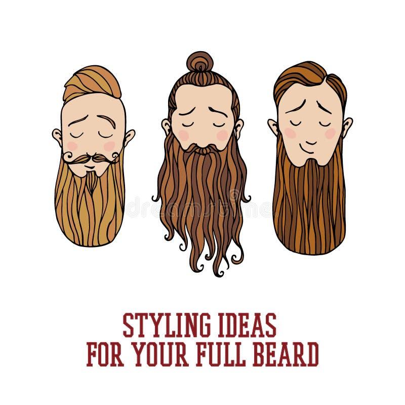 Beard styles illustration royalty free illustration