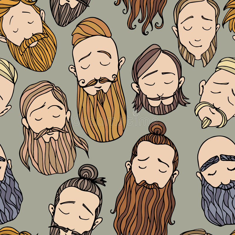 Beard styles pattern stock illustration