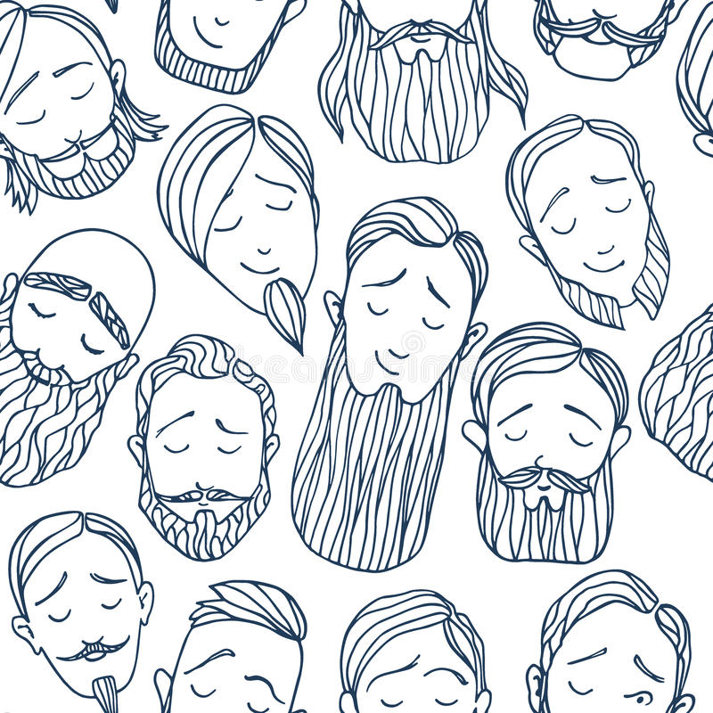 Beard styles pattern royalty free illustration