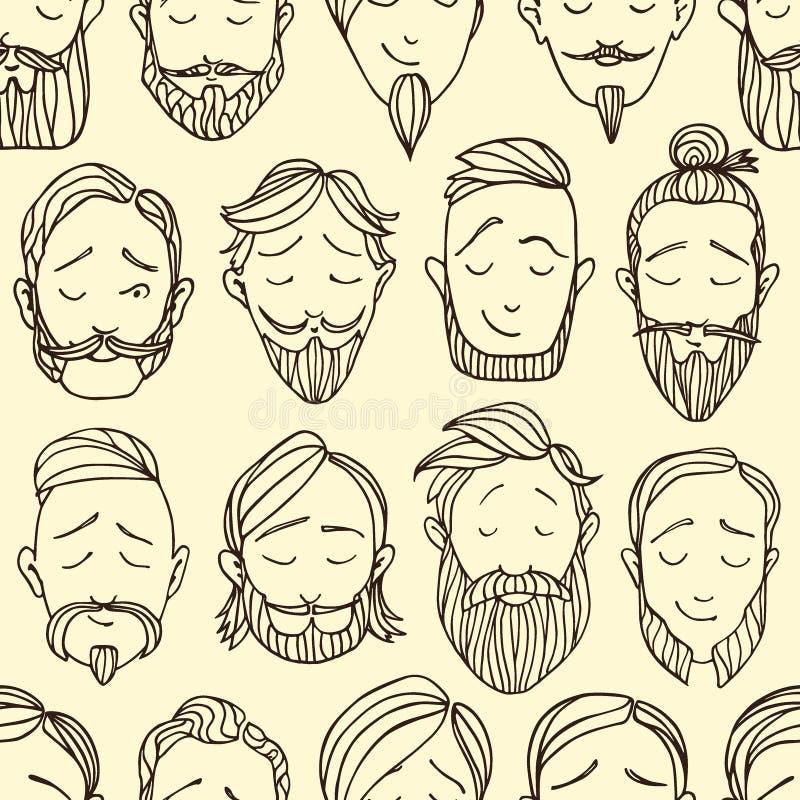 Beard styles pattern vector illustration