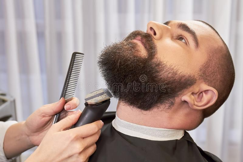Beard trimming in barbershop. Hands of barber, trimmer and comb stock photography